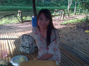 My wife in a nipa at La Mesa Ecopark
